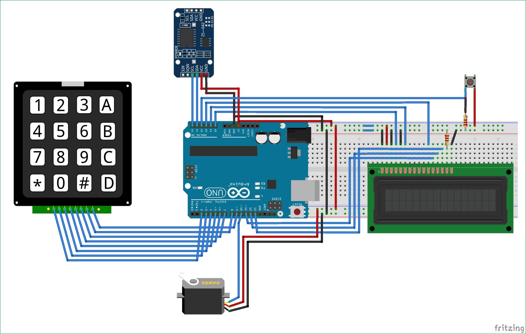 Схема автоматической кормушки для животных на основе платы Arduino