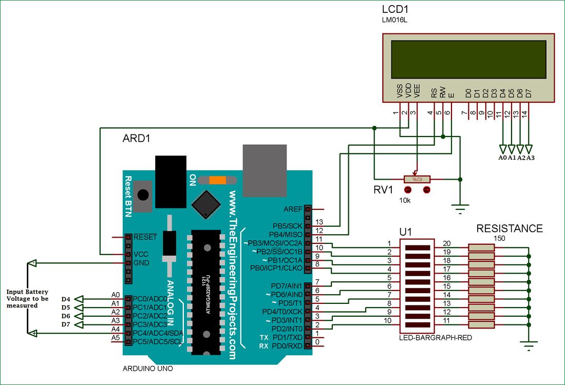 Схема индикатора заряда батареи на Arduino