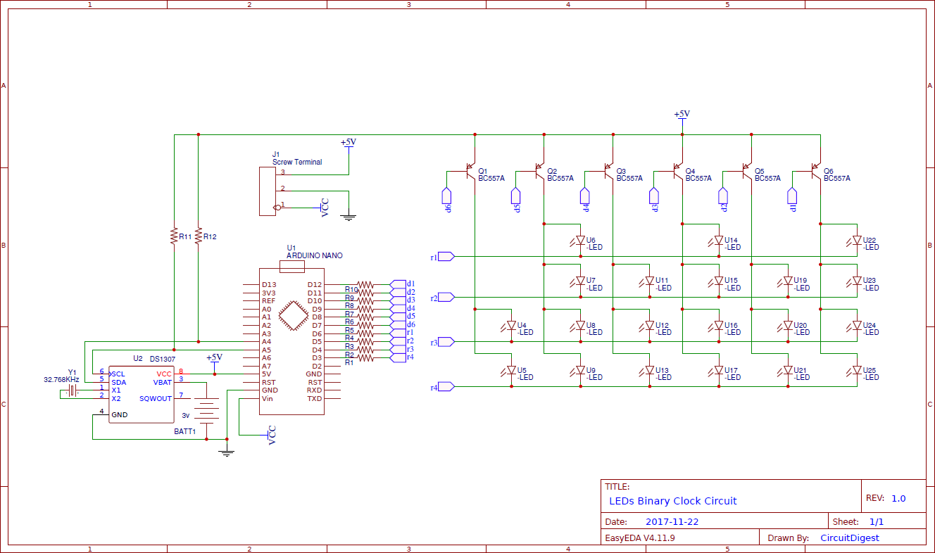 Схема бинарных часов на светодиодах с использованием Arduino