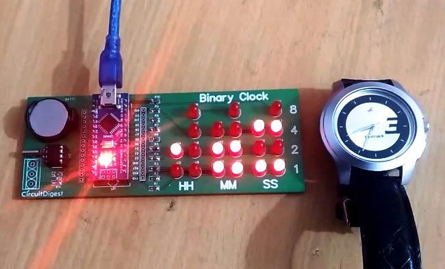 Внешний вид бинарных часов на светодиодах с использованием Arduino