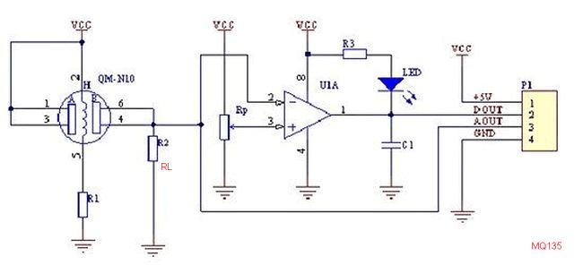 Типовая схема модуля датчика газа