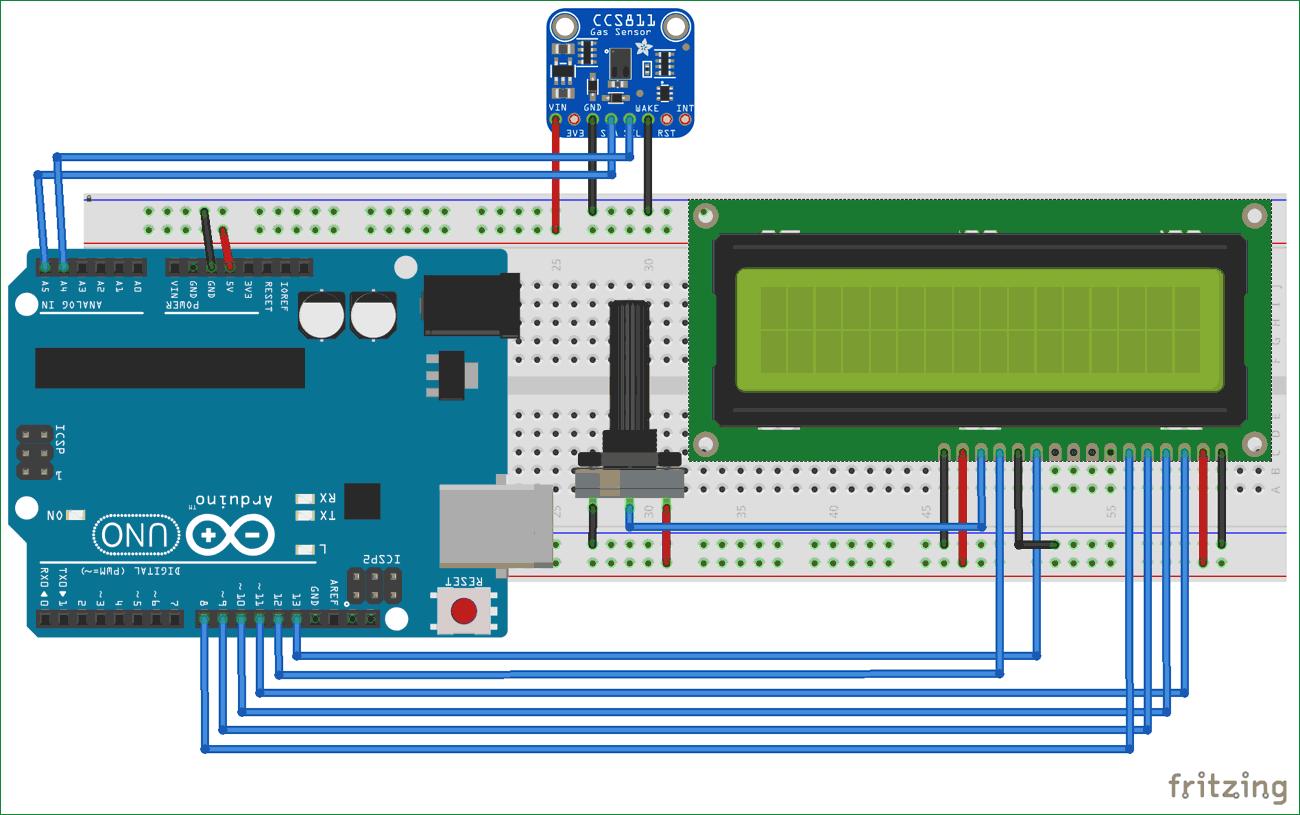 Схема подключения датчика качества воздуха CCS811 к плате Arduino