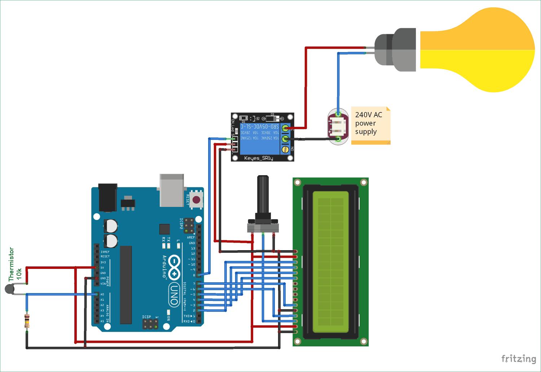 Схема проекта для автоматической регулировки температуры в доме с помощью терморезистора и Arduino