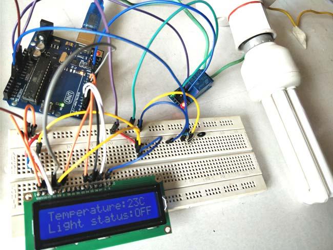 Внешний вид проекта для автоматической регулировки температуры в доме с помощью терморезистора и Arduino