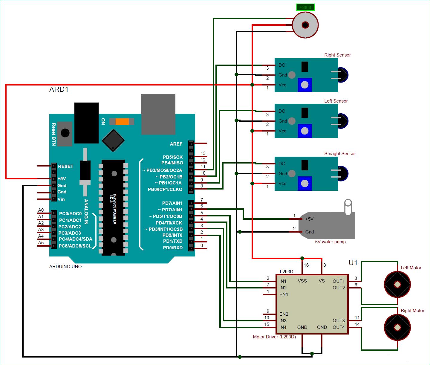Схема робота для борьбы с огнем на основе Arduino