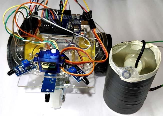 Внутрення начинка робота для борьбы с огнем на основе Arduino