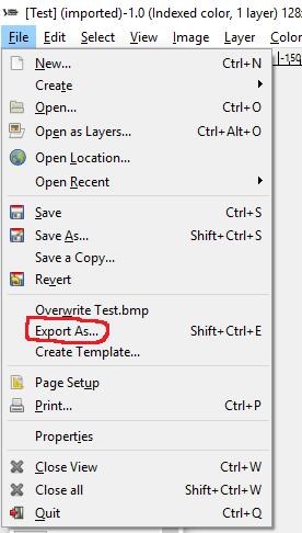 """Выбор опции """"Export as"""" в редакторе"""