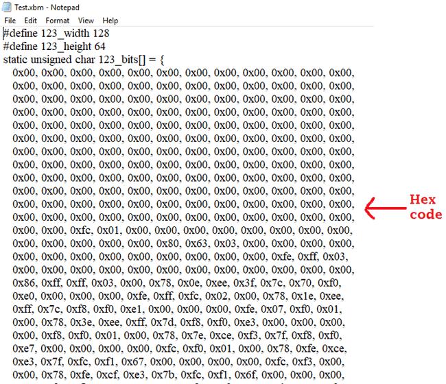 Шестнадцатеричный код изображения в блокноте