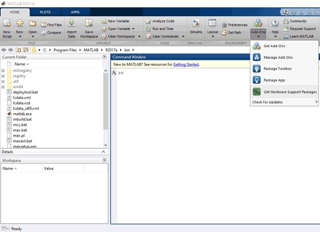 Выбор пункта меню в Matlab для установки необходимого нам дополнения