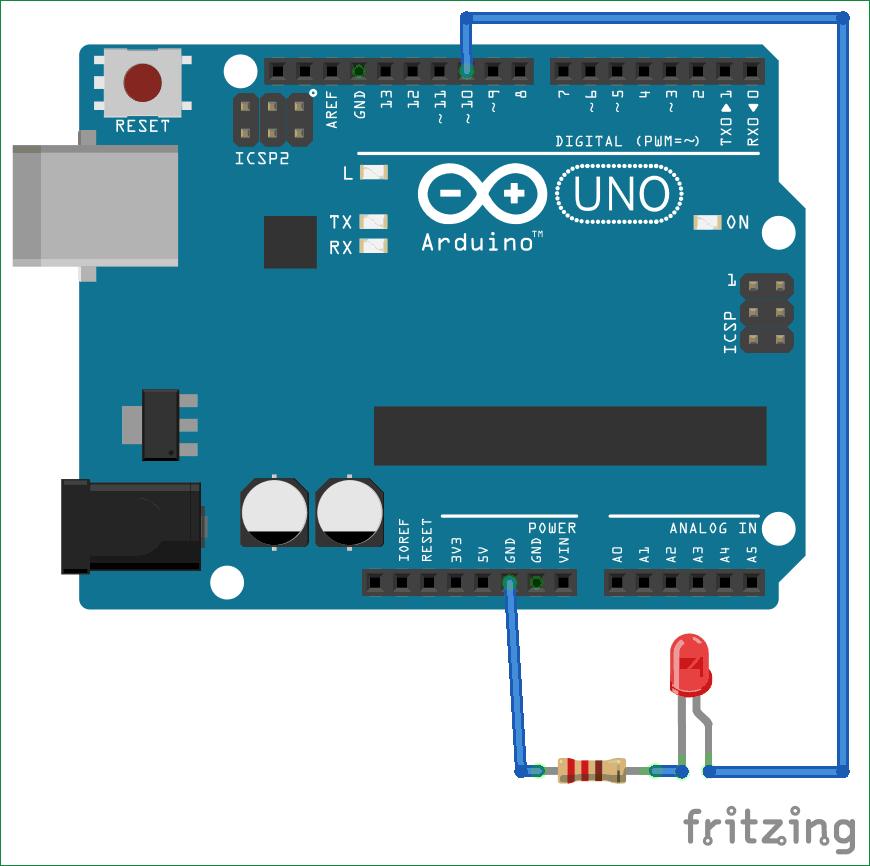 Схема для управления светодиодом с помощью MATLAB и Arduino