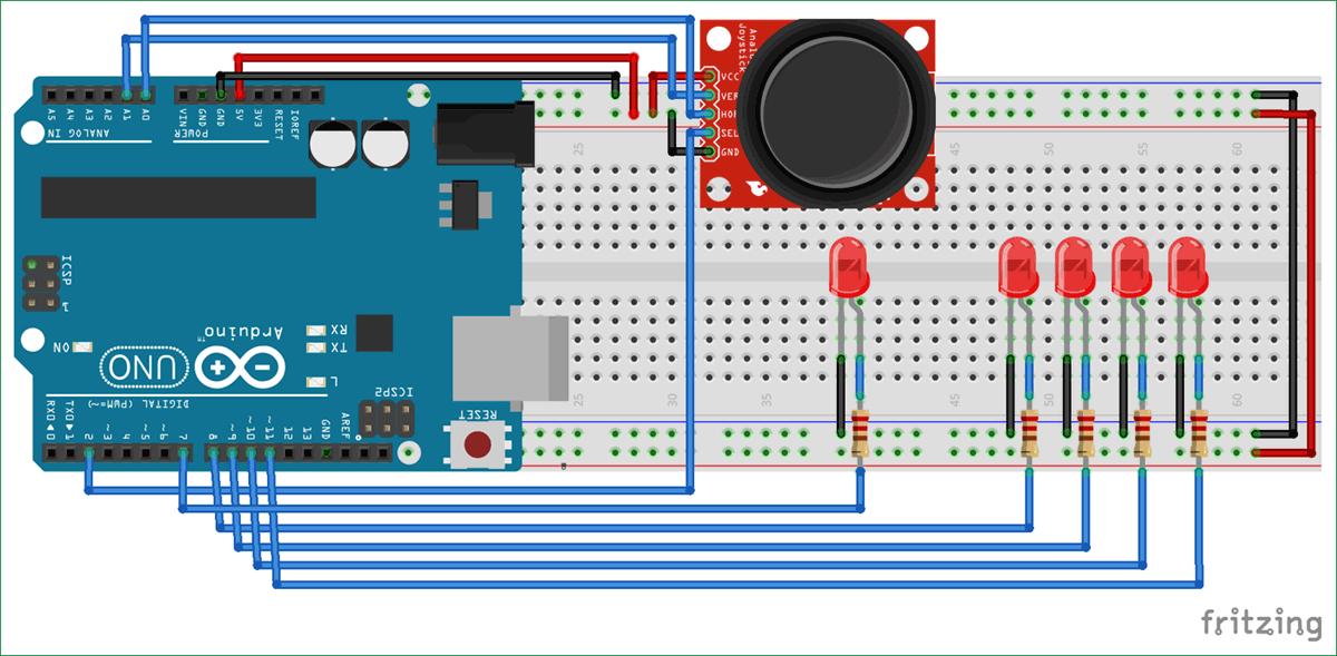 Схема подключения джойстика к плате Arduino Uno