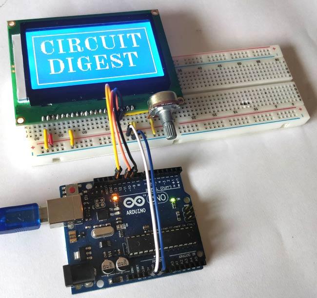 Внешний вид подключения графического ЖК дисплея ST7920 к плате Arduino