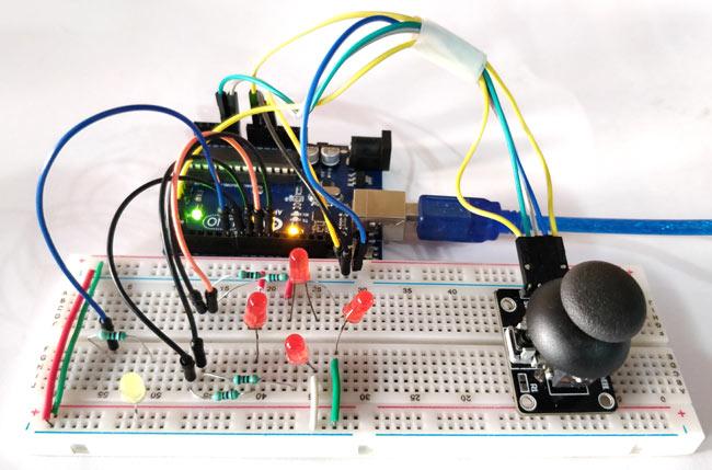 Внешний вид подключения джойстика к плате Arduino Uno