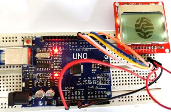 Внешний вид подключения ЖК дисплея Nokia 5110 к Arduino