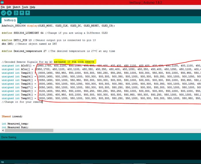 Массивы с кодами, которые необходимо заменить в программе для Arduino