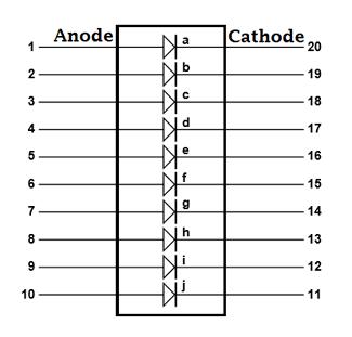Внутрення схема соединений индикатора на светодиодах