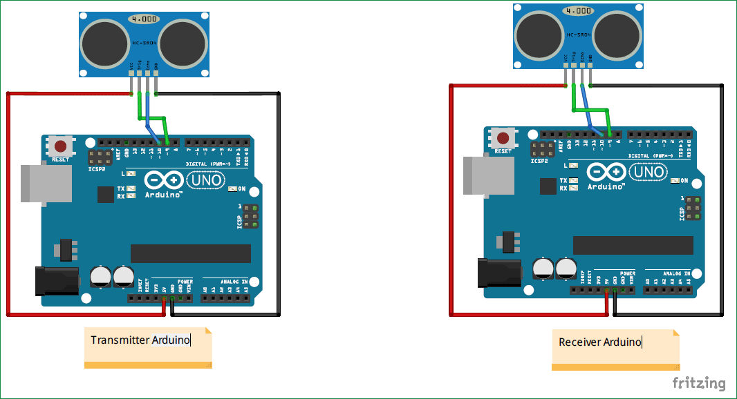 Схема проекта для измерения расстояния между двумя ультразвуковыми датчиками с помощью Arduino