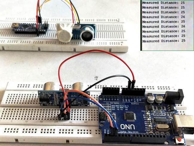 Внешний вид проекта для измерения расстояния между двумя ультразвуковыми датчиками с помощью Arduino