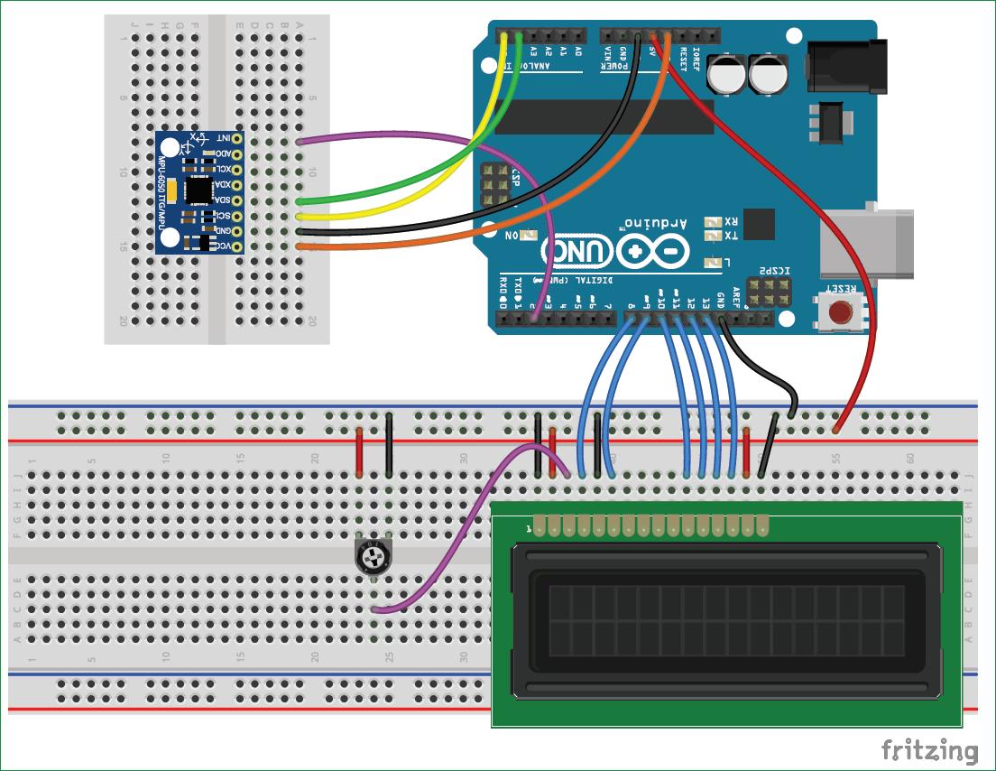 Схема подключения гироскопа MPU6050 к Arduino