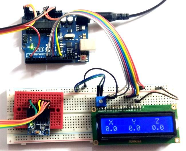Внешний вид проекта подключения гироскопа MPU6050 к Arduino