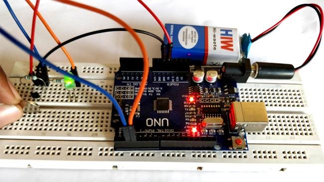 Внешний вид подключения датчика Холла к Arduino