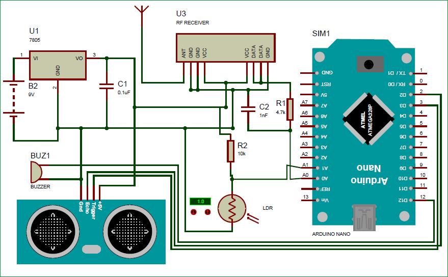 Схема приемной части умной трости для слабовидящих людей на основе Arduino
