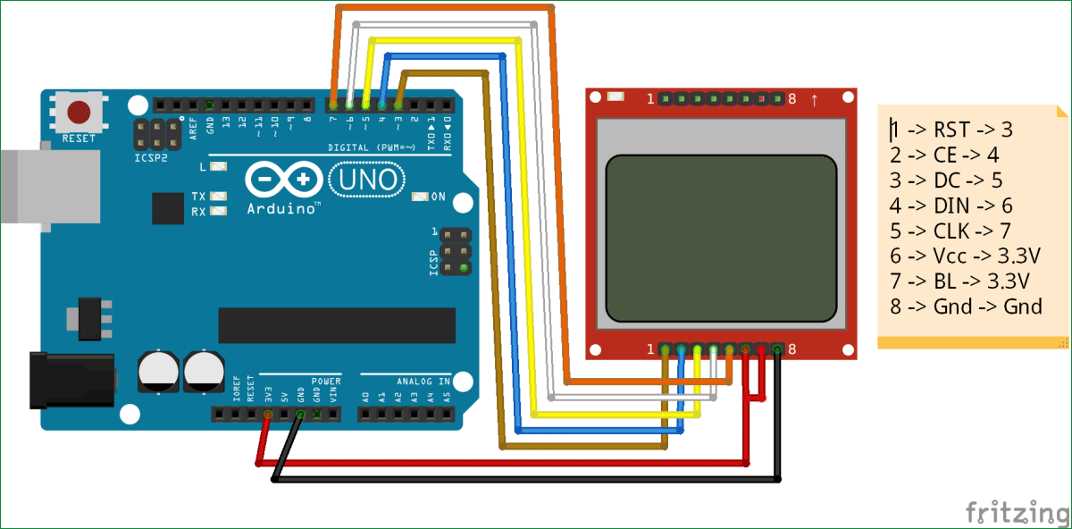 Схема подключения ЖК дисплея Nokia 5110 к плате Arduino