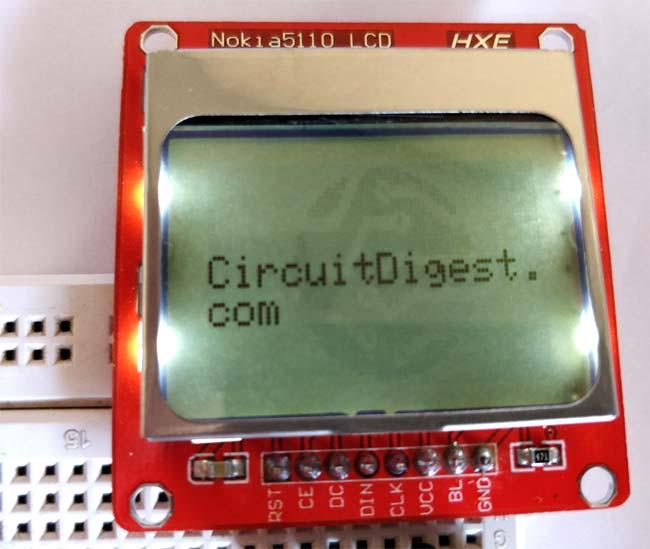 Пример отображения текста на ЖК дисплее Nokia 5110