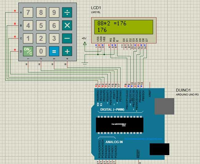 Схема калькулятора в симуляторе Proteus