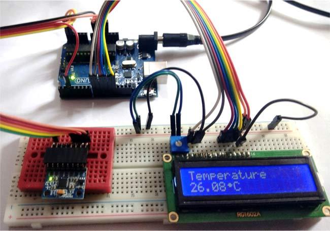 Показываем значение температуры, измеренное с помощью MPU6050
