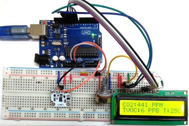 Внешний вид подключения датчика качества воздуха CCS811 к плате Arduino