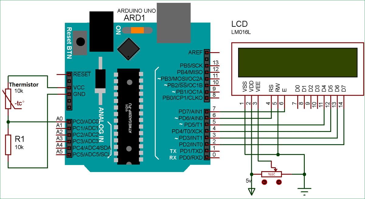 Схема проекта для измерения температуры с помощью терморезистора и Arduino