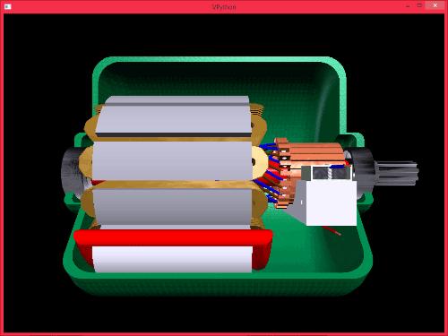 Запущенный пример с электродвигателем в VPython