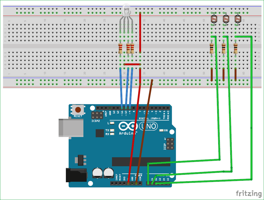Схема цветомузыки с использованием Arduino, трехцветного светодиода и фоторезисторов