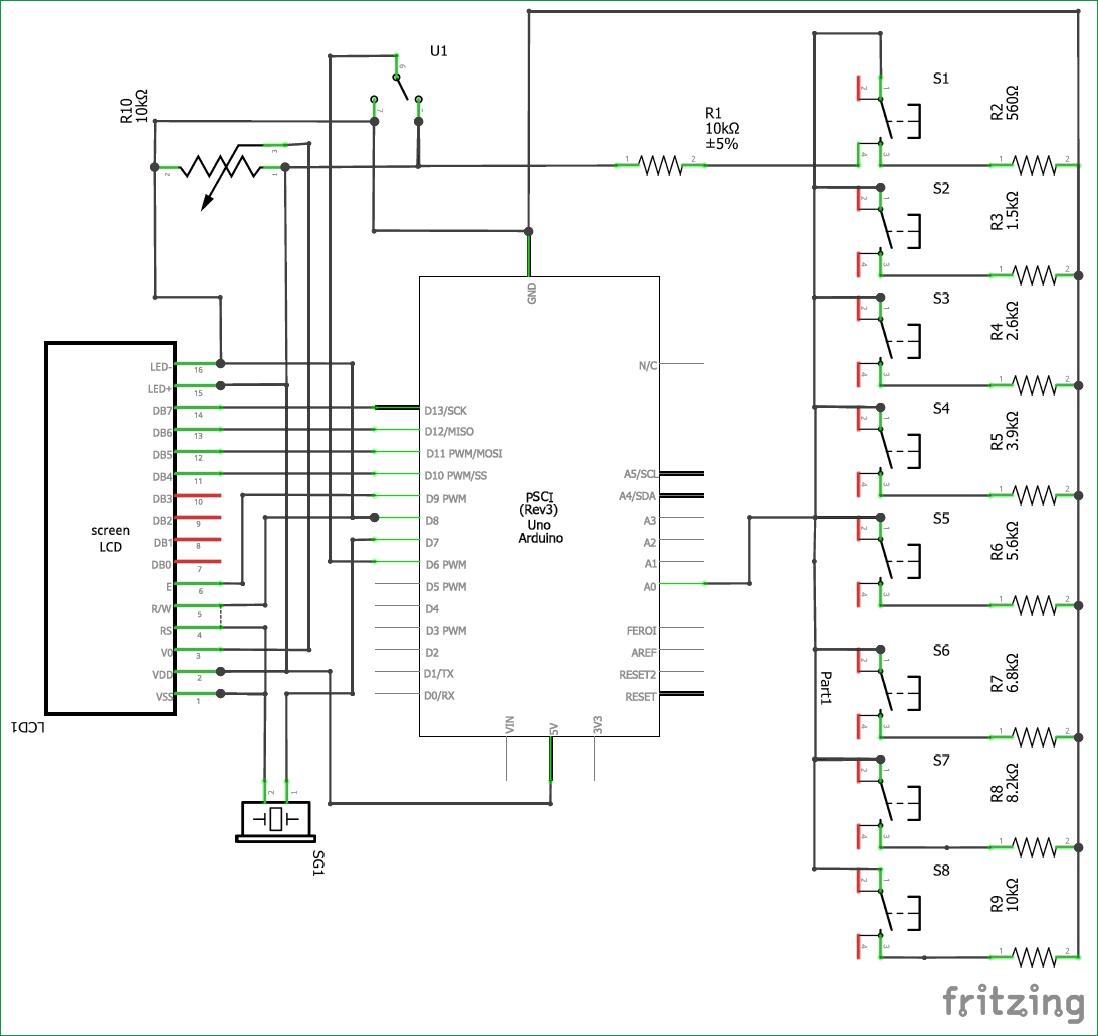 Принципиальная схема пианино на основе платы Arduino