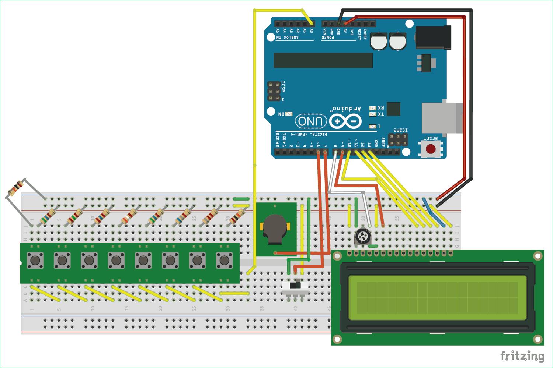 Схема пианино на основе платы Arduino, сделанная для сборки на макетной плате