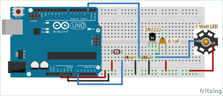 Схема автоматического управления яркостью свечения светодиода с помощью Arduino и фоторезистора