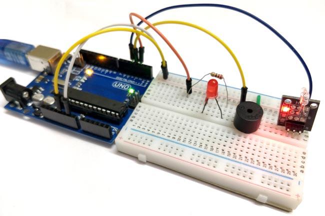Внешний вид подключения датчика наклона к Arduino Uno
