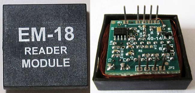 Вид снаружи и внутри модуля чтения радиочастотных меток EM-18