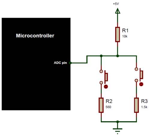 Схема делителя напряжения на двух резисторах для понимания работы нашего пианино