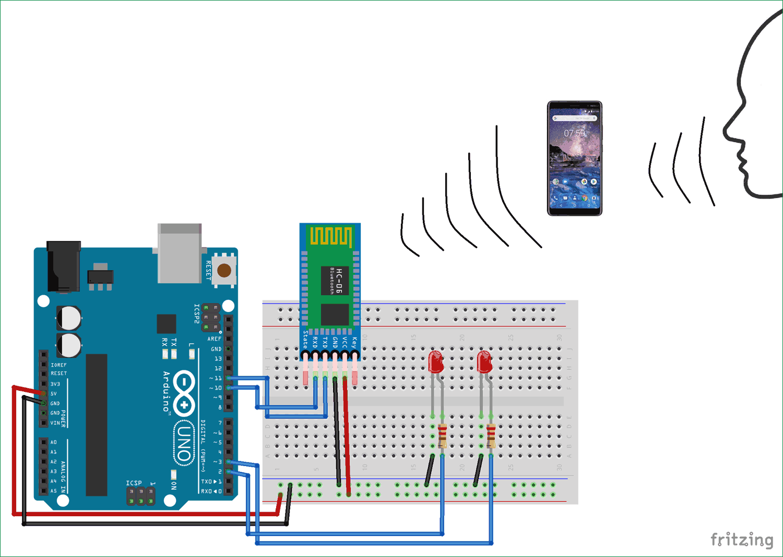 Схема голосового управления светодиодом с помощью Arduino и Bluetooth