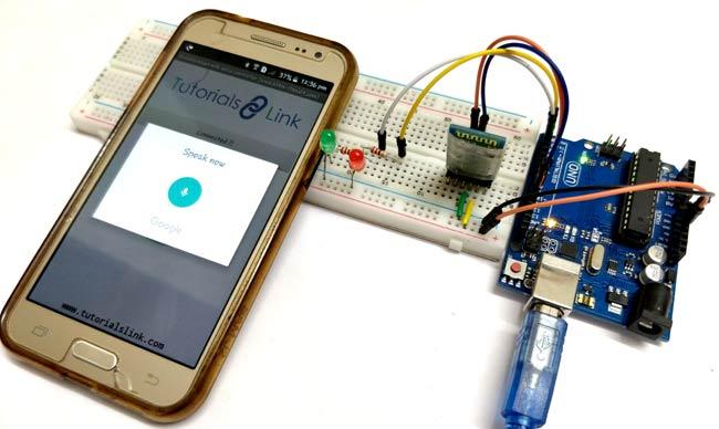 Внешний вид проекта голосового управления светодиодом с помощью Arduino и Bluetooth