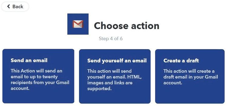 Выбор действия по передаче email