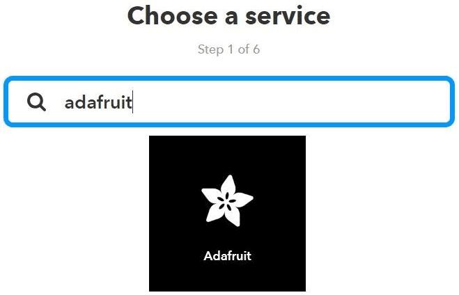 Выбор Adafruit в сервисе IFTTT