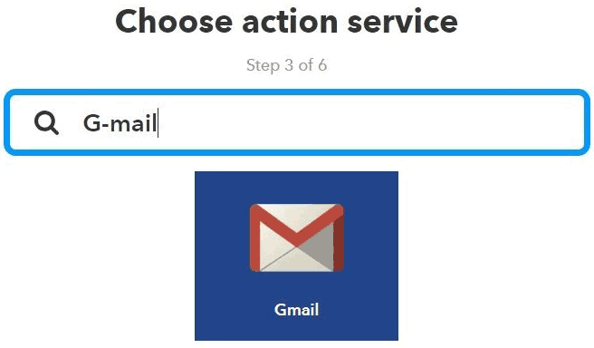 Выбор G-mail в сервисе IFTTT