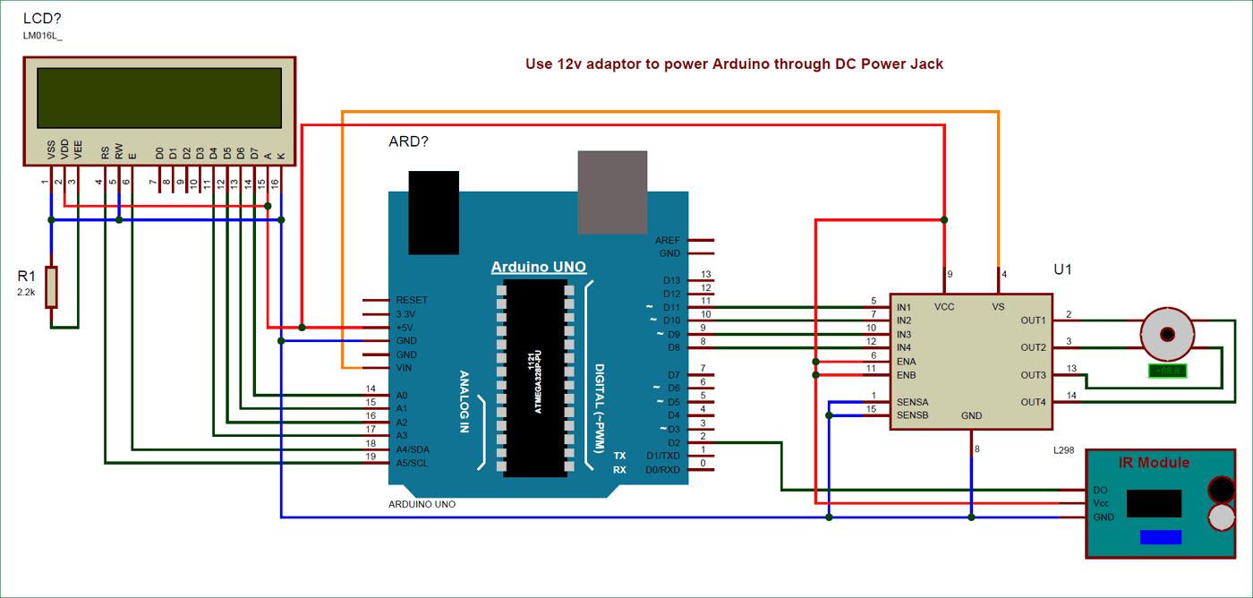 Схема аналогового спидометра на основе платы Arduino