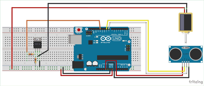 Схема автоматического дозатора воды на основе платы Arduino Uno