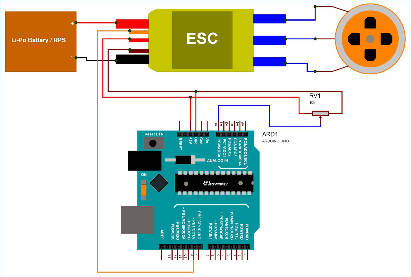 Схема подключения BLDC двигателя и контроллера ESC к плате Arduino