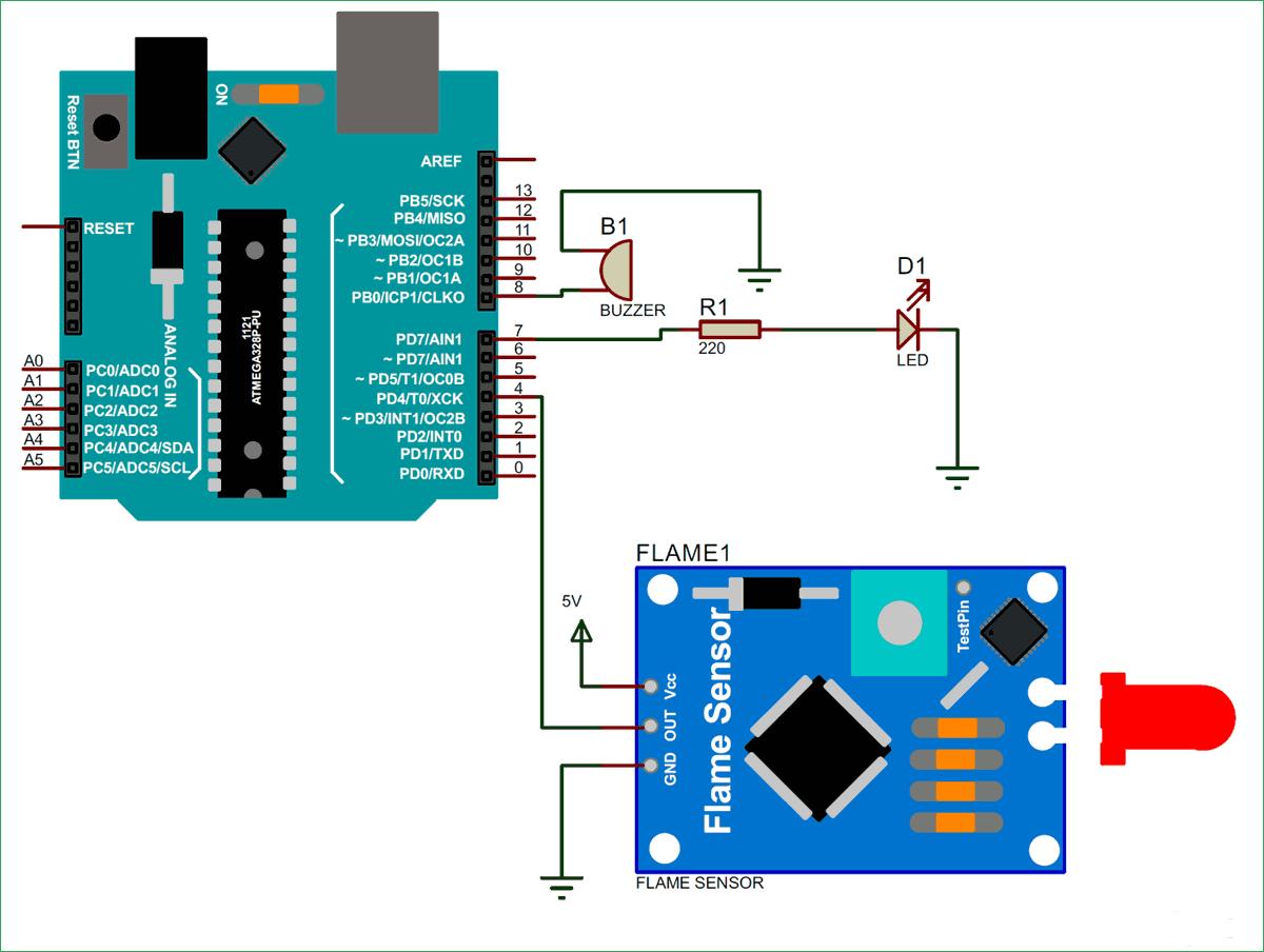 Схема подключения датчика огня к плате Arduino Uno