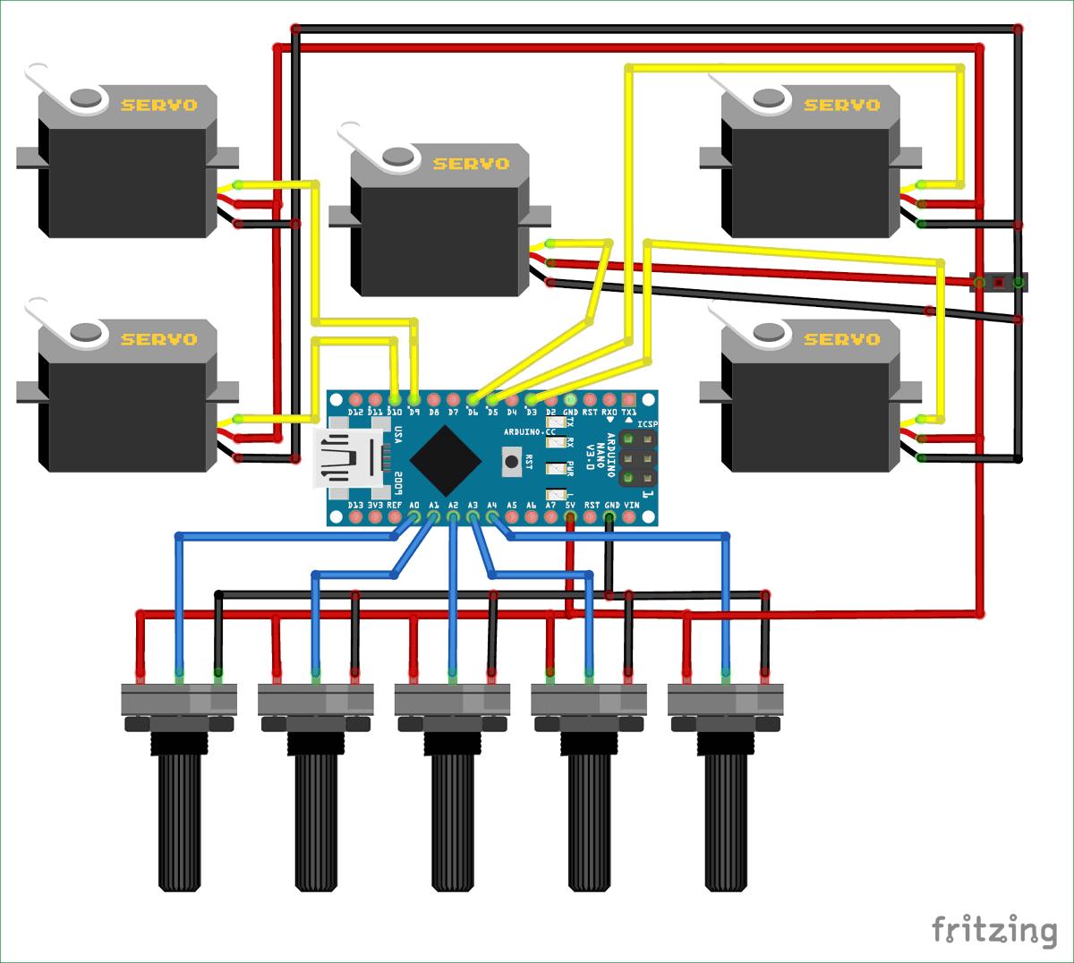 Схема роботизированной руки на Arduino